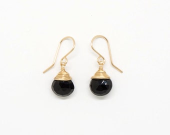 Black spinel wrapped top earring - E1954