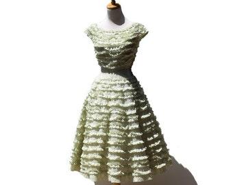 Oolong Tea Green Raw Edge Ruffle Lurex Brocade Dress