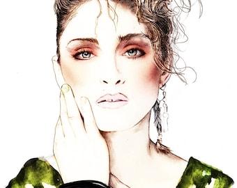 Madonna 80's Icon watercolour illustration Giclée Print