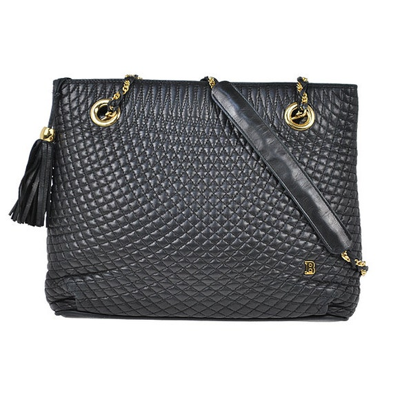 Bally Vintage Black Quilted Leather Chain Sholder Strap Tote