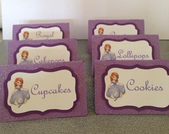 Sofia the first tent cards, Sofia the first name cards, Sofia the first party, princess food cards, princess tent cards, place cards