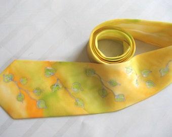 Hand painted necktie. Maize yellow, olive green tie.  Original designer necktie. Green leaf design. Ready to ship