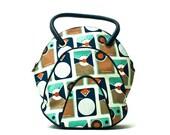 Retro Bag, Leather and Canvas Shoulder Bag, Genuine Leather Bag, Melody Miller Fabric, Transistor Radio Bag, Shoppers Bag, Everyday Use Bag