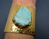 Turquoise Magnesite Slab 24k Gold Electroplated Cuff - Large Adjustable Turquoise Howlite Electroplated 24k Gold Cuff (S14B9-12)