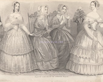 Gothic Victorian Dresses-Paris Fashion-Lace-Hats-Bonnet-Hoop Skirt-Outfit-Silk-Costume-Shawl-1845 Antique Vintage Art Print-Picture-White