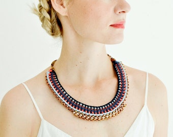 Statement Necklace, Crochet Necklace, Collar Necklace, Tribal Bib, Ibiza Style Necklace, Blue and Orange Red, Colorblocking Necklace