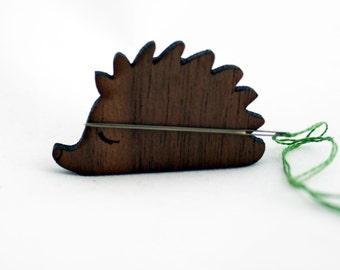 Hedgehog Needle Minder / Keeper, Walnut, Laser Cut Wood