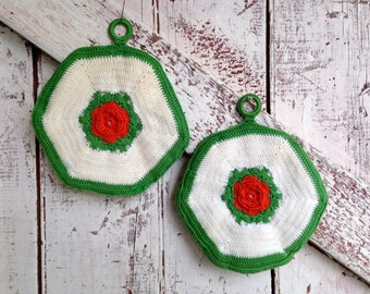 Crocheted Hot pads vintage pot holder set of two white green orange