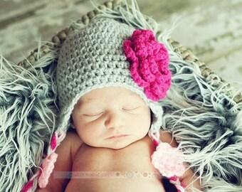 Baby Girl Crochet Hat Pattern, Baby Girl Pattern, Baby Crochet Hat Pattern, Crochet Baby Hat, Newborn Hat, Earflap Hat