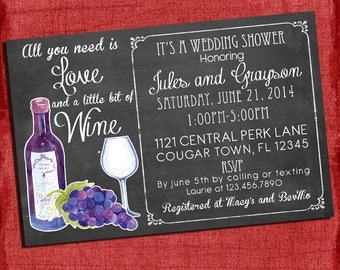 Printable Wine theme Couples/Coed Wedding Shower Invitation- I design You print