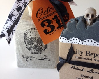 HALLOWEEN SKULL Black Charcoal Soap Bar or Gift Bag Set Natural Vegan Cold Process Soaps