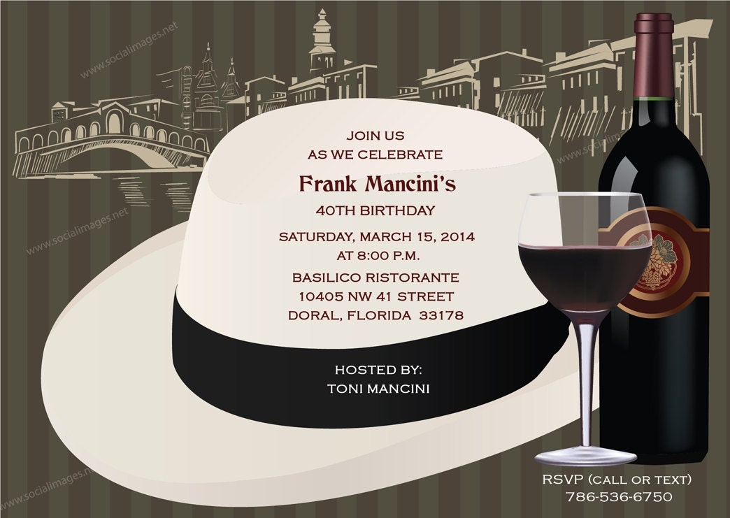 Italian Themed Fedora Party Invitation Pricing Includes
