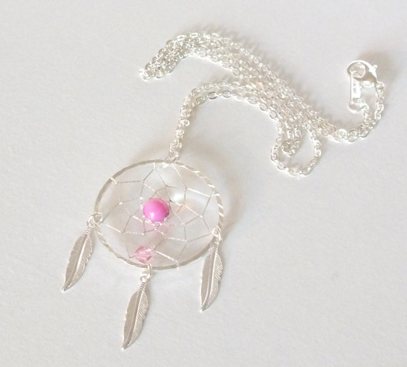 Pink Amethyst Native American Inspired Dreamcatcher Necklace, Pink Necklace