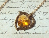 Yellow Topaz Necklace, Victorian Heart Necklace, crystal heart, 14k gold filled, Swarovski crystal, wire wrapped, summer