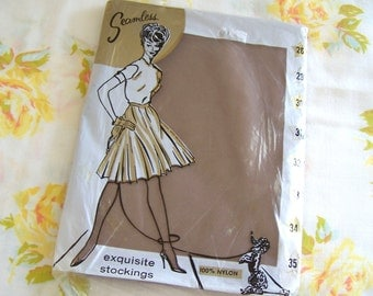 Vintage 60s Seamless Nylon Stockings - Fine Quality Taupe Size 9 31 inch inseam