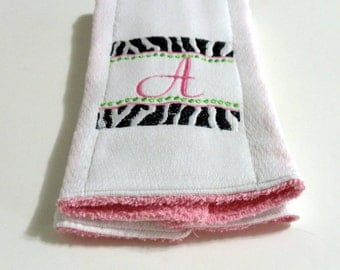 Pink Zebra Font Burp Cloth Baby Embroidery Cloth Terry Cloth 2 in 1