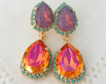 Pink orange purple chandelier earrings,orange purple crystal chandelier earrings, Drop dangle earrings, Bridal earrings, bridesmaids gift