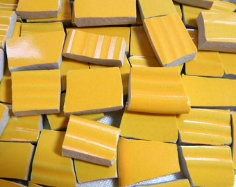 HARVEST GOLD - Stoneware Mosaic Tiles - Recycled Plates - 100 Tiles