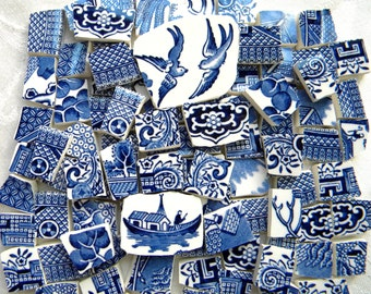 BLUE WILLOW - Vintage Mosaic China Tiles - Recycled Plates - 100 Tiles