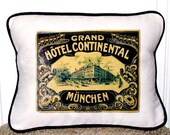 "shabby chic, feed sack, french country, Munich hotel luggage tag graphic with navy  welting 12"" x 16"" pillow sham."