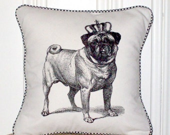 """shabby chic, feed sack, french country, pug graphic with gingham welting 14"""" x 14"""" pillow sham."""