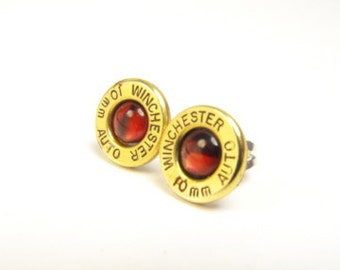 Bullet earrings brass and red paua shell post earrings 38 Special
