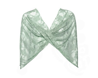 Plus size sage lace shrug. 4 options shawl- shrug, shawl, twist and scarf. bridesmaids gifts, gift for mom (CL119)
