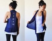 Vegan Clothing - Navy Sleeveless Shawl Top