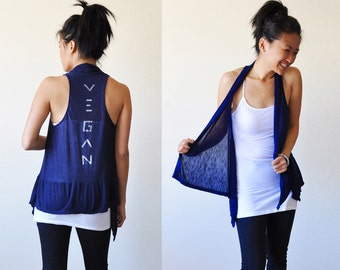 Vegan Clothing - Navy Sleeveless Shawl Top