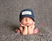 Monogrammed Newborn hat, Children's Monogrammed Hat, Baby Announcement, Baby Hat, New Baby Hat, 100% USA Grown Cotton, Crochet, hats