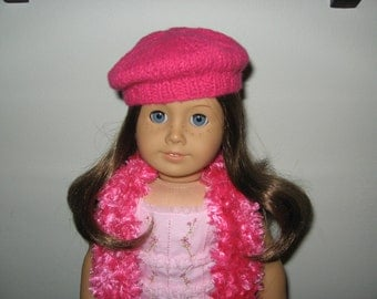 "Hand-Knit Bright Pink Beret and Scarf Set for 18"" 18 inch Dolls will fit American Girl"