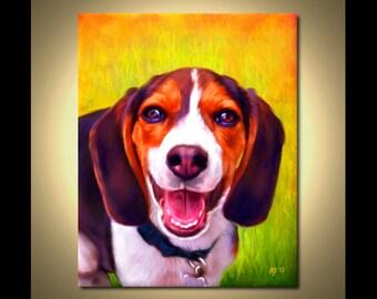 Beagle Portrait | Custom Beagle Portrait | Beagle Painting From Your Photos | Beagle Art by Iain McDonald