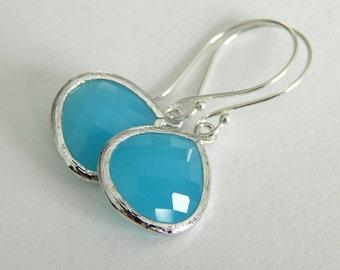 Larimar Blue Sterling Silver Dangle Earrings, Wedding Jewelry, Bridesmaid Earrings, Ocean Blue Drop Earrings