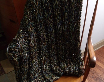 WoodsNsky Ultra Luxe CHUNKY KNIT AFGHAN Throw Blanket home decor knit blanket Large Sofa Blanket Afghan