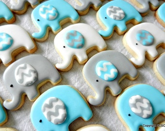 Mini Elephant cookieswith Chevron ears  for baby showers and parties (#2508)
