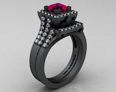 French 14K Matte Black Gold 1.0 Ct Princess Rose Ruby Diamond Engagement Ring Wedding Band Set R215PS-14KMBGDRR