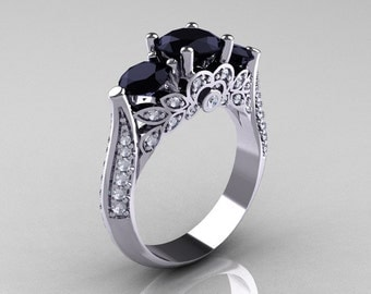 Classic 10K White Gold Three Stone Black and White Diamond Solitaire Ring R200-10KWGDBD