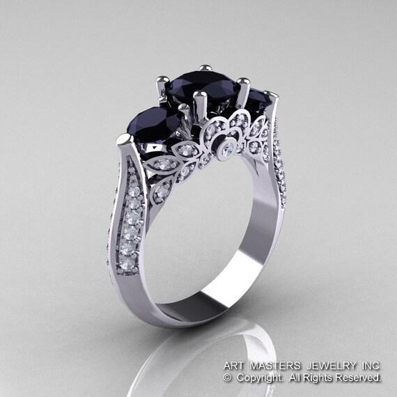 Classic 10K White Gold Three Stone Black and White Diamond Solitaire Ring R200-10KWGDBD