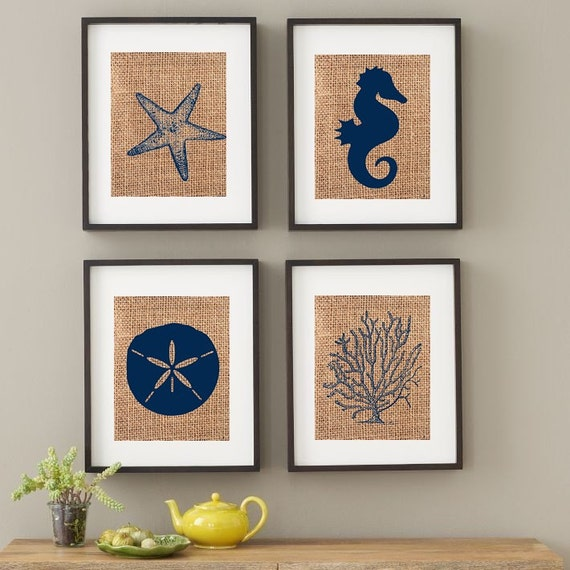 Beach Art Shabby Chic Jute Burlap Wall Art Beach Prints