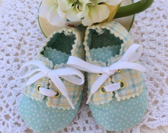 Turquoise and Plaid Baby Boy Oxfords, Three to Six Month