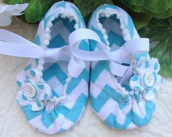 Chevron Baby Girl Mary Janes in Turquoise, 3 to 6 Months