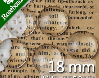 200PCS 18MM Round Flat Back clear Crystal glass Cabochon,Top quality-C1057