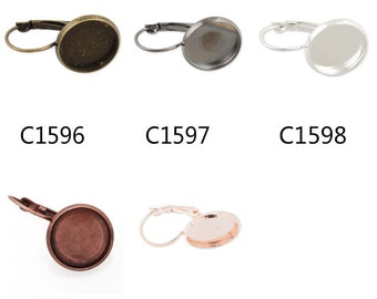 50PCS French Lever Back Earring Blank/Base Settings,fit 14MM round cabochons,buttons -c1596-3146