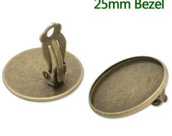 20PCS Antique Bronze Ear Clip Round Jewelry Setting, Fit 25mm Round Cabochons C2814