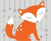 Gray and Orange Nursery, Woodland Nursery Print, Fox Nursery Decor, Arrow Nursery Art, Arrow Decor, Orange Fox Decor -8x10
