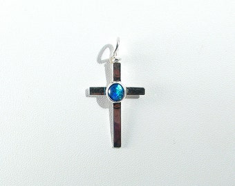 Genuine Blue Green Australian Opal Sterling Cross Pendant Slide OOAK October Birthstone