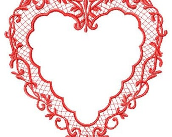 Lace Heart Embroidery Design - Instant Download