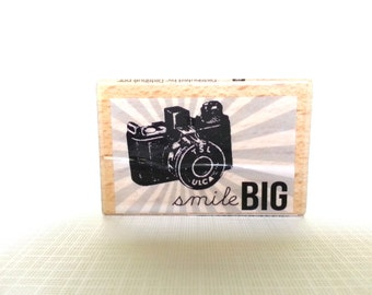 Smile Big Wooden Mounted Rubber Stamping Block DIY tags, Greeting Cards, and Scrapbooking