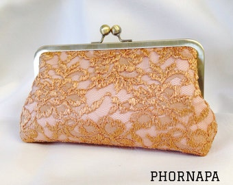 Exquisite Gold Lace Clutch Made to Order