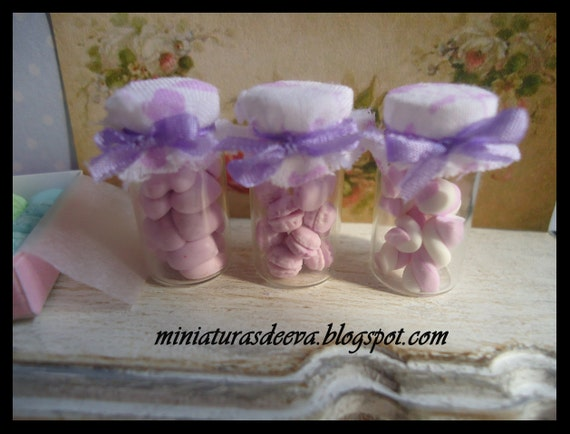 Set of 3 glass jars with meringues, marshmallows and macarons. 1/12th scale (Lilac)
